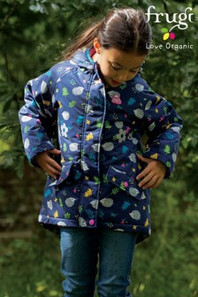 Frugi Blue 100% Recycled Polyester Waterproof Winter Coat