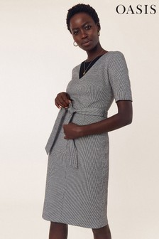Oasis Natural Puppytooth Wggle Dress