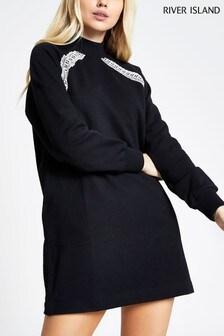 River Island Black Pearl Tape Raglan Sleeve Dress