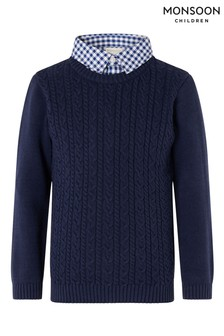Monsoon Blue Mock Collar Cable Knit Jumper
