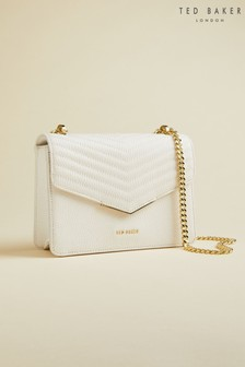 Ted Baker Cream Bonitah Quilted Envelope Mini Cross Body Bag