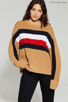 Tommy Hilfiger Camel Icon Global Stripe Sweater