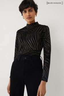 Warehouse Black Zebra Print Jacquard Top