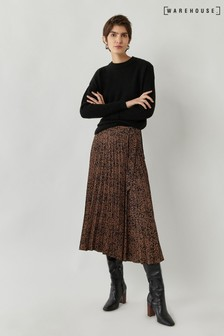 Warehouse Tan Ink Spot Pleated Midi Skirt