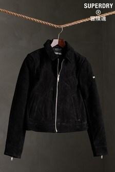 Superdry Cropped Suede Harrington Jacket