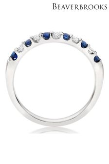Beaverbrooks 18ct Diamond And Sapphire Half Eternity Ring