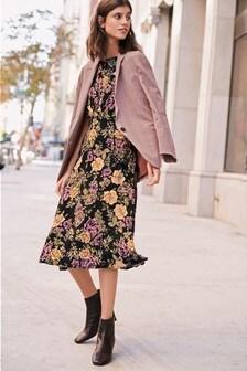 Angel Sleeve Midi Dress