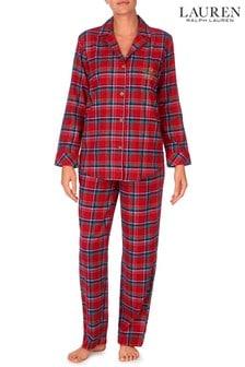 Lauren Ralph Lauren® Red Brushed Twill Notch Collar Pyjama Set