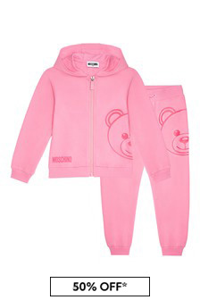 Girls Pink Cotton Tracksuit