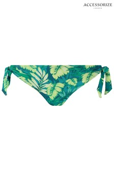 Accessorize Green Leaf Print Tie Side Bikini Briefs