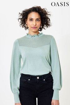 Oasis Green Pointelle Yoke Jumper