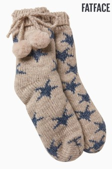 FatFace Grey Star Knit Bed Socks