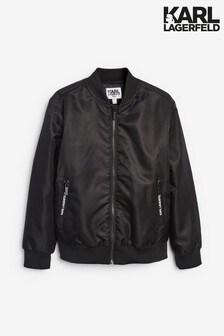 Karl Lagerfeld Black Logo Bomber Jacket