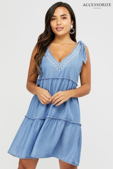 Accessorize Blue Bow Tie Tiered Dress