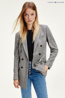 Tommy Hilfiger Grey/Brown Check Double Breasted Blazer