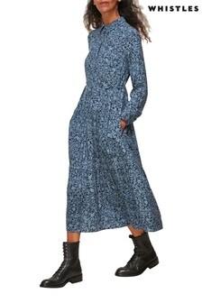 Whistles Blue Eucalyptus Print Dress