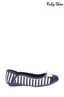 Ruby Shoo Blue Lizzie Flexible Comfort Slip-On Ballerina Shoes