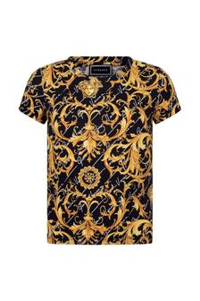 Boys Black & Gold Baroque Cotton T-Shirt