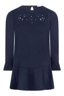 Girls Navy Viscose Dress