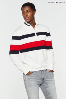 Tommy Hilfiger Bold Global Stripe Zip Mock Sweater
