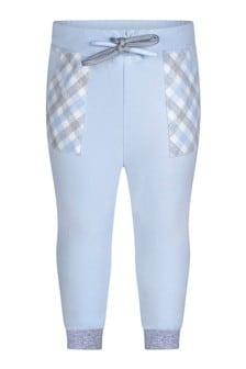 Boys Pale Blue Cotton Joggers