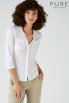 Pure Collection White Luxury Linen Jersey Shirt