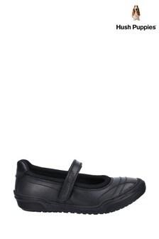 Hush Puppies Black Amelia Junior Touch Fastening School Shoes