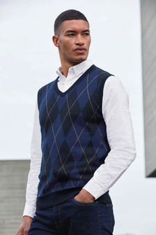 Argyle Pattern Tank Jumper