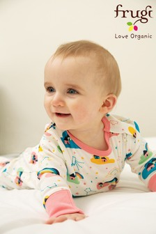Frugi GOTS Organic Zip Sleepsuit with Turn Back Scratch Mitts - Pink Rainbow