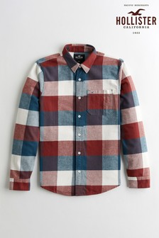 Hollister Navy/Brown Checked Shirt