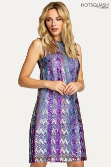 HotSquash Purple Zip-Back Sleeveless Shift Dress