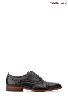 Base London® Black Cast Waxy Lace-Up Brogue Shoes