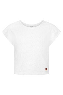 Carrement Beau Girls White Cotton T-Shirt