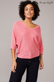 Phase Eight Pink Cristine Linen V-Neck Knitted Top