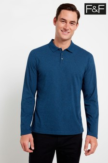 F&F Blue Lone Sleeve Textured Polo