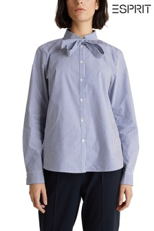Esprit Blue Bow Blouse With Stripes