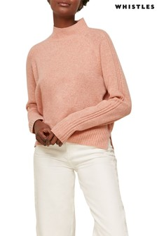 Whistles Pale Pink Funnel Neck Flecked Merion Wool Knit Jumper