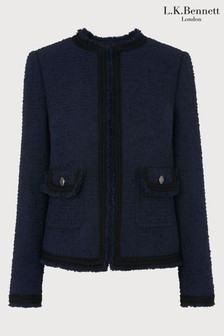 L.K.Bennett Blue Mercer Tweed Effect Jacket
