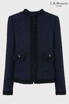 L.K.Bennett Blue Mercer Tweed Effect Jacket