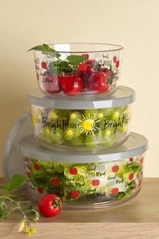 Set of 3 Plastic Food Storage Tubs