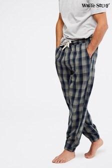 White Stuff Grey Thame Cuffed Flannel Check Pyjama Bottoms