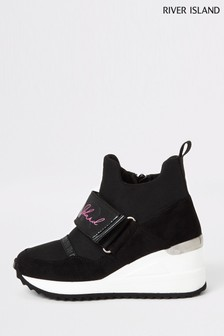 River Island Black Exposed Wedge High Tops