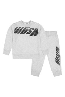 Baby Boys Grey Cotton Logo Tracksuit