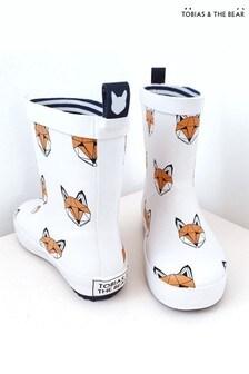 Tobias & The Bear White Just Call Me Fox Rainboots