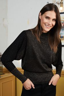 Phase Eight Black Gigi Batwing High Neck Knit Jumper