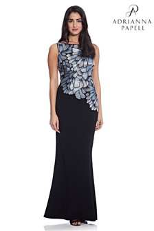Adrianna Papell Grey Embroidered Crepe Gown