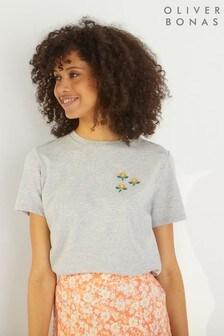 Oliver Bonas Grey Beaded Floral T-Shirt