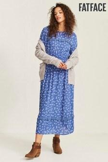 FatFace Blue Margot Daisy Patchwork Midi Dress