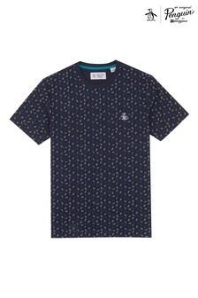 Original Penguin® Blue Disty Print Short Sleeved T-Shirt