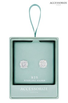 Accessorize White Round Cut Solitaire Earrings